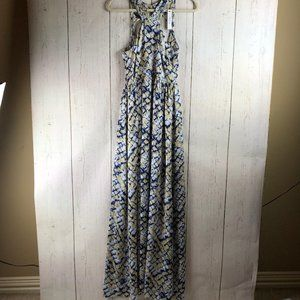 NWT Ark & Co maxi dress gold and navy sz S
